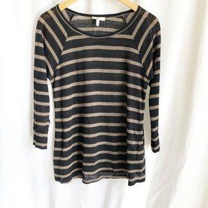 Joie Black and Tan stripe 3/4 sleeve linen shirt